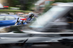 Traffic (Spannarama) Tags: motion blur movement panning car taxi blackcab moped scooter motorcyclist helmet traffic greatportlandstreet london uk londonpride pride2019