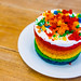 Close up of a delicious rainbow cake