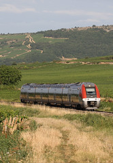 AGC between Remigny and Santenay, Burgundy (hktrains) Tags: france french railcar sncf train railways railway autorail diesel hills vineyard vallée abfc picasso