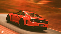Ford Mustang Gr. 3 Road Car (at1503) Tags: orange movement motion blur speed ford mustang fordmustang wheels trees autumn autumncolours colour leaves forest americancar usa america vermont gtsport granturismo granturismosport motorsport racing game gaming ps4 car