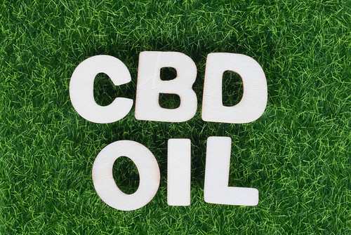 Text CBD oil on green grass background