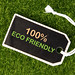 100% Eco friendly text on a price tag