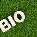 Word BIO on grass background