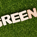 Word Green on green grass background