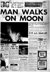 The Melbourne Herald- Monday July 21, 1969- Page 1 Final Edition- Apollo 11 Moon Landing and Walk (Vax80) Tags: apollo 11 moon landing nasa national aeronautics space administration july 1969 melbourne the herald newspaper neil armstrong edwin buzz aldrin michael collins saturn command service lunar module rocket cape canaveral kennedy australia united states america