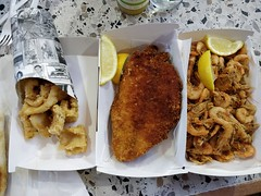Fried school prawns, crumbed flounder, crumbed calamari - Aptus Seafood Grill, South Melbourne Market (avlxyz) Tags: