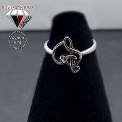 Bague clé de sol et cœur en argent (olivier_victoria) Tags: argent 925 zircon bague amour anneau fiançaille double verte