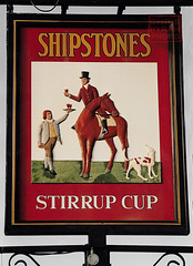 STIRRUP CUP  sign    1988 (chrisdpyrah) Tags: leicester leicesterpubs shipstones thurncourt pub sign stirrup cup horse hound servant