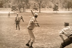 Vintage Baseball, Cantigny Park. 50 (EOS) (Mega-Magpie) Tags: canon eos 60d outdoors game sports vintage baseball cantigny park wheaton dupage il illinois usa america sepia players men guy dude fella bat ball people person