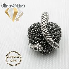 Pendentif coeur et serpent originel et argent 925 (olivier_victoria) Tags: argent 925 pendentif zircon noir coeur rouge serpent