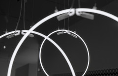 Art by Cerith Wyn Evans. (vickyhindle) Tags: blackwhite 35mmfilmphotography canoneos3 canonef50f14 ilford delta 100 ilfotecddx thehepworth sculpture