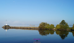 Lough Neagh reflections with torpedo platform and morning Moon (Photographs and Images of Northern Ireland) Tags: moon lough neagh high flier reflection