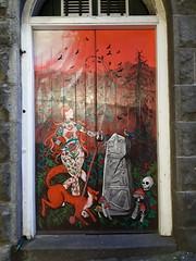 Painted Door, Aberdeen (luckypenguin) Tags: scotland aberdeen streetart mural