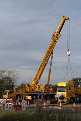 Crane and lorry dismantling temporary bridge (Ian Press Photography) Tags: crane cranes lorry lorries truck trucks bourne bridge ipswich suffolk wherstead nmt heavy haulage