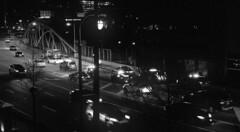 Traffic stop on Peachtree Street in Atlanta (ScottWarren86) Tags: kodak trix400 trix bw blackandwhite mono monochrome film pentax pentaxlx lumensphotolab atlanta peachtree street night police