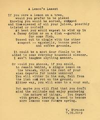 A Lemon's Lament (vivienne_strauss) Tags: poem poetry lemon