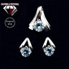 Parure pyramide topaze bleue en argent 925 (olivier_victoria) Tags: parure topaze argent 925 boucles oreille boucle doreille pendentif bleu ciel chaine triangle pyramide