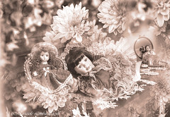 Porcelain dolls and flowers (mariasolelombardophotography) Tags: monochrome sepia porcelain doll vintage antique photography old ancient attractive beautiful beauty charming special effect magic manipulation digital decoration plant dress clothing fashion embroidery broider furniture mirror cute cupboard room garden costume style dream craftsmanship woodwork handmade retro elegant time timepiece past