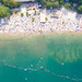 Aerial view of Blackfoot Beach and swimming area at Fühlinger See in Cologne, Germany