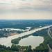 Luftbild von der Regattabahn am Fühlinger See in Köln, Deutschland