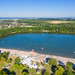 Aerial view of the northern end of the lake Otto-Maigler-See in Hürth, Germany