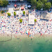 Aerial view of Blackfoot Beach at Fühlinger See in Cologne, Germany