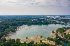 Luftbild vom süd-west-lichen Becken des Fühlinger Sees in Köln, Deutschland
