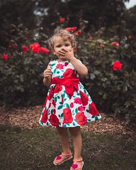 Kisses to everyone (Jo Hernandes) Tags: fulllength outdoors portraitphotography people children childhood grass roses dress innocence playful cute happiness childrenphotography smile lollipop dayout park localgarden