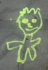 Happy child - sidewalk spray painted (Monceau) Tags: happy child outline sidewalk spraypaint vivid green