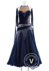 Navy Blue Velvet and Lace Waltz Quickstep Competition Dress (Venus Dancewear) Tags: ballroomdress ballroomdancedress latindress dancewear ballroom competition dress venus dresses dance quickstep foxtrot waltz