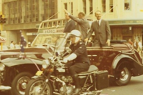 """My dad just posted this photo on Facebook that my mom took and I had to share: """"Mary took this picture in October, 1969, in Sydney, Australia, as she viewed a motorcade honoring Neil Armstrong, Buzz Aldren, and Michael Collins, for their Apollo 11 Moon la"""