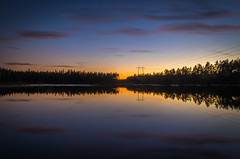 Calm lake III (mabuli90) Tags: finland lake sunset dusk night sky clouds water autumn fall reflection forest tree suomi