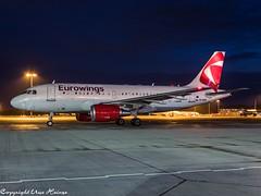 Eurowings OK-REQ HAJ at Night (U. Heinze) Tags: aircraft airlines airways airplane planespotting plane olympus omd em1markii 12100mm haj hannoverlangenhagenairporthaj flugzeug eddv night nightshot