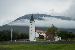 Cathedral of Hólar, Iceland. (Arno_vdb) Tags: church cathedral white tower iceland mountains trees clouds holar travel canon 80d