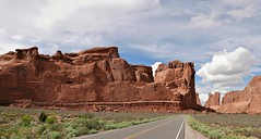 APPROACHING WALL STREET (Rob Patzke) Tags: arches stone lx100 lumix landscape rock road sage clouds sky formation nature desert park perspective utah panasonic