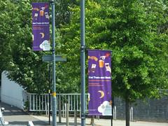Longbridge Lane, Longbridge - West Midlands Railway banners - Get There and Back (ell brown) Tags: longbridge birmingham westmidlands england unitedkingdom greatbritain longbridgelane longbridgestation longbridgeln crosscityline electrifiedrailwayline tessalllane westmidlandsrailway westmidlandstrains renovation refurbishment bus nxwm nationalexpresswestmidlands 45 sign signs banner banners getthereandback
