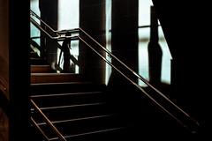 Ombre 01 (marcvazart) Tags: france isère grenoble street gare escalier ombre lumière light femme rouge bordeau ligne diagonale