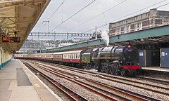 BR Standard Class 7  70000 Britannia and 47501 carrying number D1944 on the rear of Saphos Trains The Welsh Marches Express 1Z12 1623 Cardiff - Crewe at Newport 20.07.2019 (1) (The Cwmbran Creature.) Tags: british rail class train trains railway steam loco locomotive marches wales tour railtour