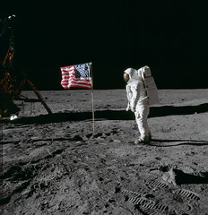 "Astronaut Edwin ""Buzz"" Aldrin Poses for Photograph Beside Deployed U.S. Flag (NASA's Marshall Space Flight Center) Tags: nasa marshallspaceflightcenter msfc apollo rocket space history apollo11 eagle lunarmodule astronauts"