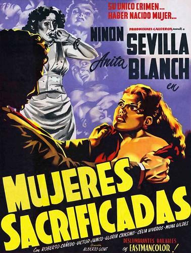 """Cartel de la película """"Mujeres Sacrificadas"""" (1952, Alberto Gout). Ilustrado por Josep Renau"""