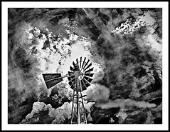 Making Clouds (jose_miguel) Tags: jose miguel españa espagne spain panasoniclumixfz50 marruecos maroc morocco essaouira esauira cielo sky ciel nubes clouds nuages viento wind vent bw byn nb windmill molino moulin