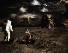 Now in bookstores... Apollo 11: The Untold Story! (Fotofricassee) Tags: moon surface lem lunar excusion module astronaut earth thunderstorm lightning