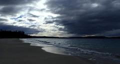 A Storm is Brewing (Lani Elliott) Tags: sand beach water waves light clouds sky scenictasmania springbeach orford dramatic dramaticsky