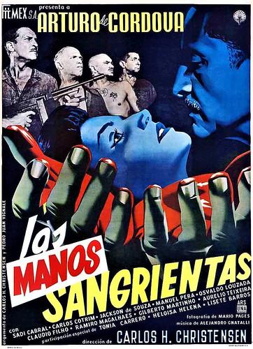 """Cartel de la película """"Las manos sangrientas"""" (1955, Carlos Hugo Christensen). Ilustrado por Josep Renau"""