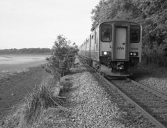 Sprinting along the Hayle (DH73.) Tags: lelant hayle estuary river branch line scenic cornwall gwr sprinter 150 150246 6x7 rangefinder ilford delta 400 ilfosol 3