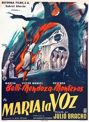"""Cartel de la película """"María La Voz"""" (1955, Julio Bracho). Ilustrado por Josep Renau"""