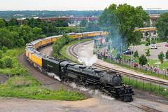 Big Boy departing SPUD (shawn_christie1970) Tags: saintpaul minnesota unitedstatesofamerica bigboy up4014 steam stpauluniondepot extra passenger spud railroad train kellogg