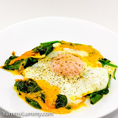 Steamed egg on wilted spinach with melted Red Leicester (garydlum) Tags: egg eggs redleicester spinach canberra australiancapitalterritory australia