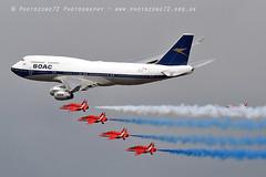 7476 RAFAT & BOAC BA 747 flypast (photozone72) Tags: riat fairford aircraft airshows airshow aviation canon canon7dmk2 canon100400f4556lii 7dmk2 raf rafat redarrows reds redwhiteblue ba britishairways ba100 boeing747 jumbojet flypast hawk