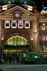Flinders Street Station, Melbourne (Joe Lewit) Tags: planart1485 melbourne flindersstreetstation tram traffic commuters